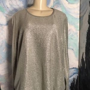 Style&Co Gray Metallic Crew Neck Sweater
